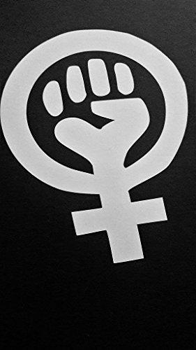 Feminism Symbol Feminist Woman Rignts Vinyl Decal Sticker|WHITE|Cars Trucks Vans SUV Laptops Wall Art|5.5