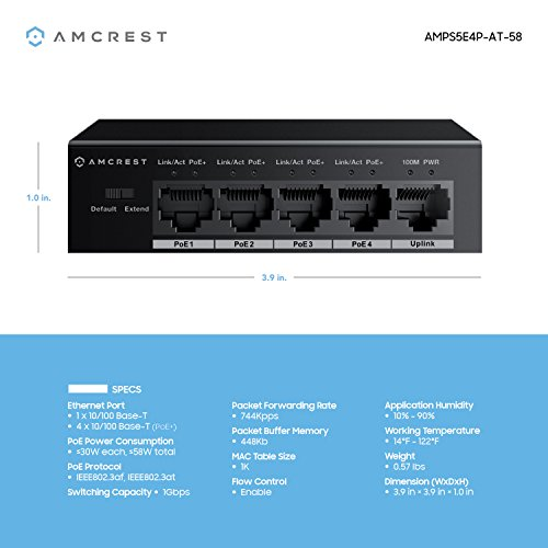 Amcrest 5-Port POE+ Switch with Metal Housing, 4-Ports POE+ Power Over Ethernet Plus 802.3at 58w (AMPS5E4P-AT-58) by Amcrest (Image #3)