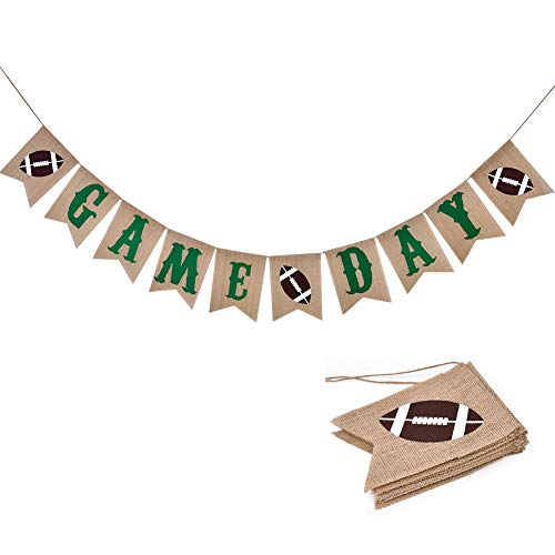 Football Game Day Burlap Banner Super Bowl Kids Birthday Outdoor Sports Party Decorations Supplies
