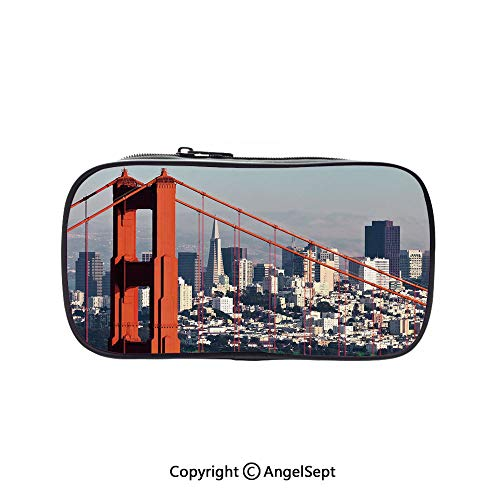 Big Capacity Pencil Case 1L Storage,San Francisco Bridge and Cityscape Metropolis Financial District Orange Baby Blue White 5.1inches,Desk Pen Pencil Marker Stationery Organizer with Zipper for -