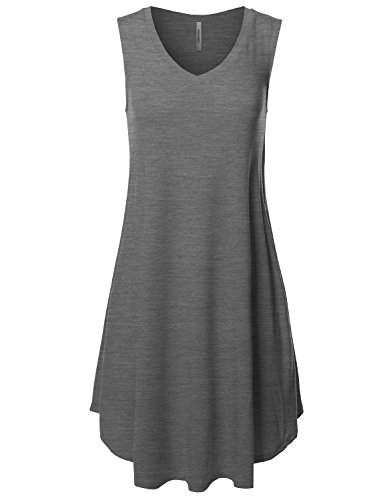 Awesome21 Solid V-Neck Sleeveless Round Hem Dress with Side Pocket Charcoal Size XL (Charcoal Grey Prom Dresses)
