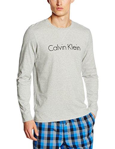 Neck s Klein shirt L Calvin Crew 080 Homme heather T Gris Grey SpFxgSwIq