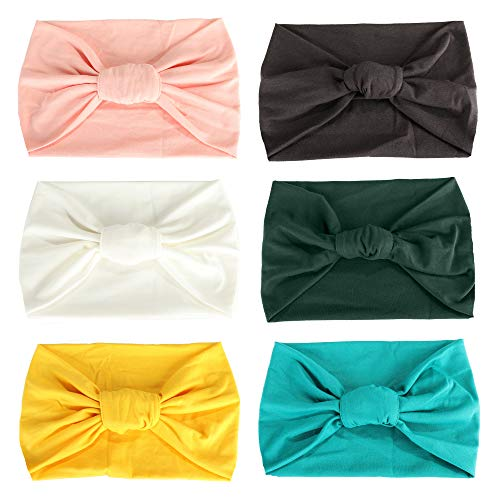 (Adramata 6 Pcs Boho Headbands for Women Vintage Flower Printed Criss Cross Elastic Head Wrap Twisted Cute Hair Accessories)