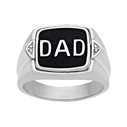 'Dad' Onyx Flip Ring with Diamonds in Sterling Silver