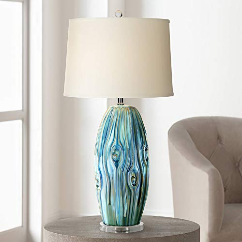 - Eneya Coastal Table Lamp Ceramic Blue Green Swirl Glaze Neutral Oval Shade for Living Room Family Bedroom Bedside - Possini Euro Design
