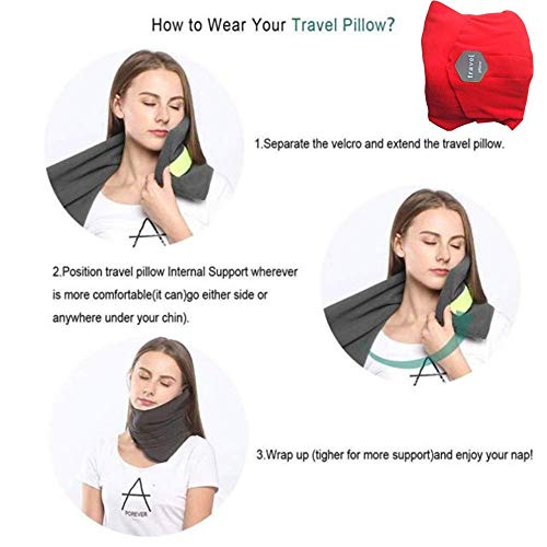 BFHCVDF Pillow Neck Support Pillow Spine Pillow Neck Protector Portable for Travelling Red
