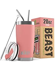 BEAST 20 oz Blossom Tumbler - Stainless Steel Insulated Coffee Cup with Lid, 2 Straws, Brush & Gift Box
