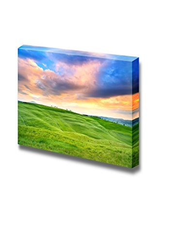 Tuscany Sunset Country Landscape Cypress Trees and Green Fields Wall Decor ation