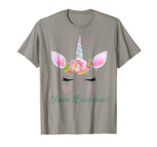 Junior Bridesmaid Shirt Flower Girl Unicorn Women Teen Child