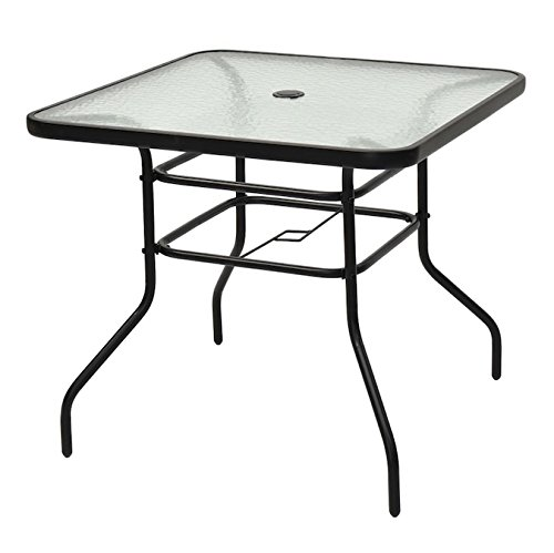 Black Square Patio Glass Top Table With Umbrella Hole Tempered Glass Steel Frame Outdoor Lawn Garden Backyard Yard Pool Side Furniture Décor Decoration UV Resistant And Waterproof Stylish Design by Patio Glass Top Table