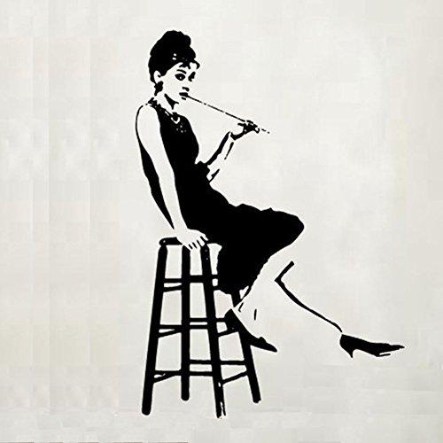 Fangeplus(R)DIY Removable Audrey Hepburn Breakfast at Tiffany's Silhouette Art Mural Vinyl Waterproof Wall Stickers Kid Room Decor Nursery Decal Sticker - Kids Tiffany Co &