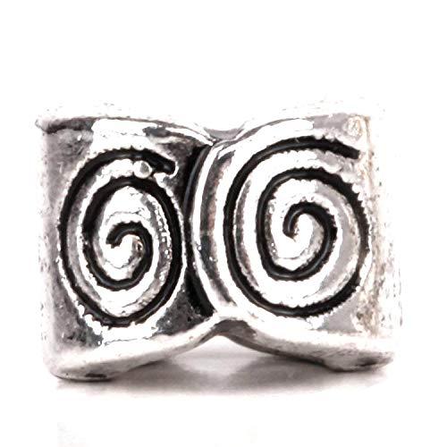 Spiral Flower Charms - RUBYCA 50pcs Tibetan Silver Tone Spacer Beads Fit European Charms Bracelet Spiral Pattern Design