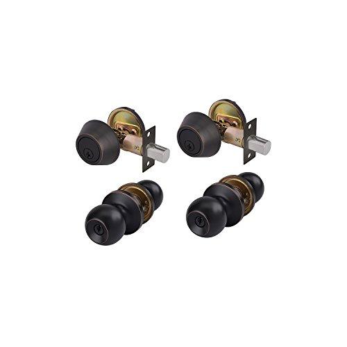 TOGU 2 Pack ANSI Grade 3 Heavy Duty Entry Knob and Single Cylinder Deadbolt Combo Pack,Door Lockset for Home Entry Doors,Bedroom,Storeroom,Oil Rubbed Bronze