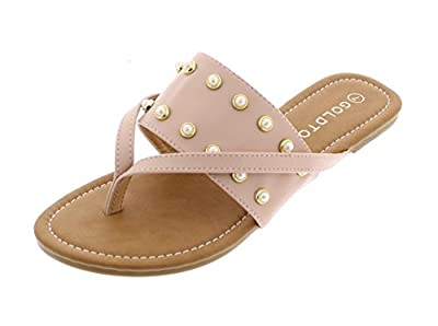 Gold Toe Women's Ozella Double Strap Wide Band Slide On Flat Pearl Studs Flip Flop Thong Sandal Shoes