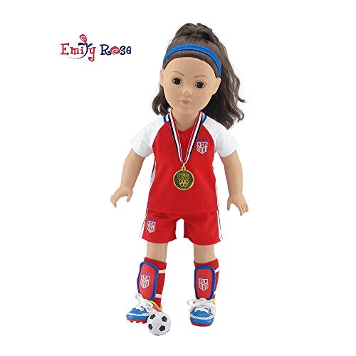 Emily Rose 18 Inch Doll Clothes   World Cup USA 8 Piece Doll Soccer Uniform, Including Soccer Shoes/Cleats and Realistic Medal!   Perfect Halloween Costume  Fits American Girl