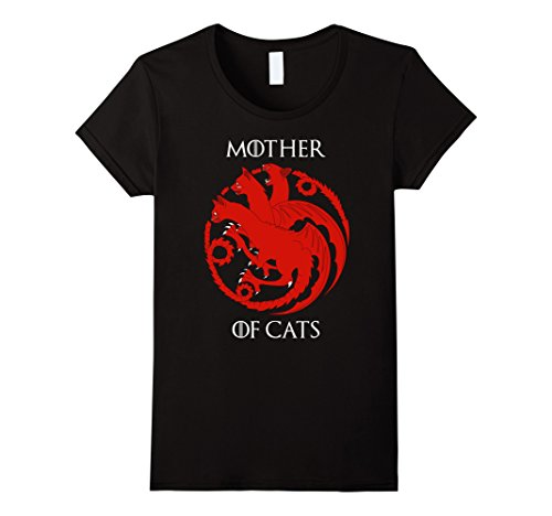 Womens Cat Lovers Shirt - Mother of Cats Hot T-Shirt Large Black