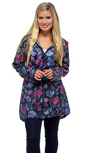 Traje de neopreno para mujer con capucha con texto de ligero solidez del Plan Festival conexión en cascada impermeable lluvia para mujer Navy Floral