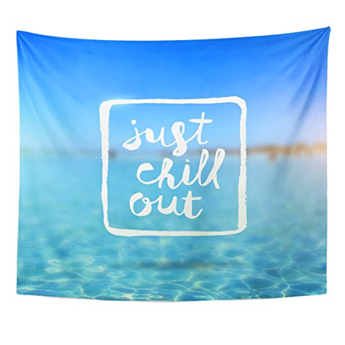 TOMPOP Tapestry Blue Just Chill Out Lettering Against Tropical Azure Sea Home Decor Wall Hanging for Living Room Bedroom Dorm 50x60 Inches
