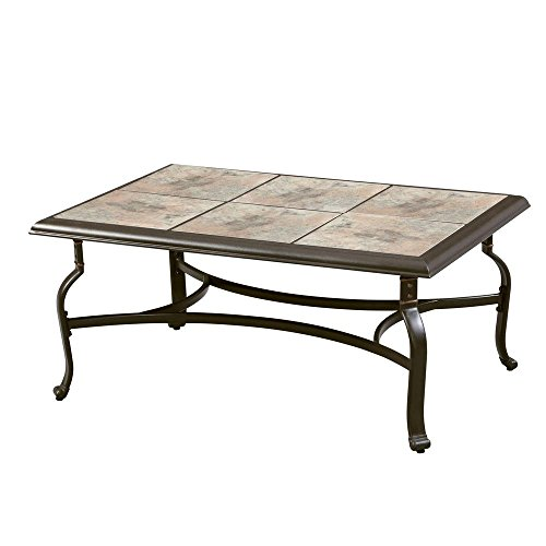 Patio Table Bay Hampton (Belleville FTS80721 Ceramic Tile Top Outdoor Patio Rectangular Coffee Table, UV Weather Resistant Durable Steel Construction Frame, Brown Finish)
