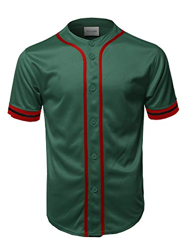 - Casual Hipster Short Sleeves Baseball Inspired Jersey Top Green XS