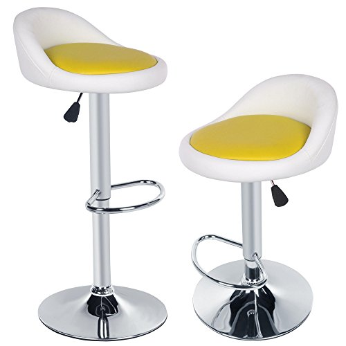 Garain 1 Pair Faux Leather 360 Degree Swivel Barstool Contemporary Breakfast Kitchen Bar Stool High Chair Seat (White Yellow) (Stools For Sale Bar Breakfast)
