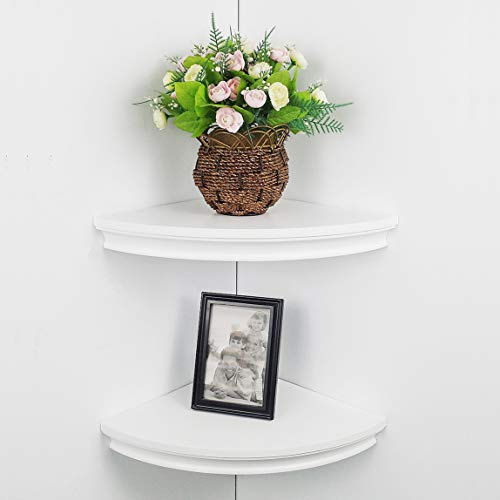 "HAO Set of 2 Classic Radial Corner Wall Shelf Contoured Shelving MDF Floating Corner Shelves Approx.12"" White"