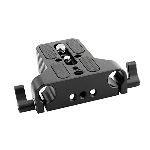 NICEYRIG Multipurpose Camera Base Plate with Rod Rail Clamp for DSLR Rig 15mm Rod Rail Support ()