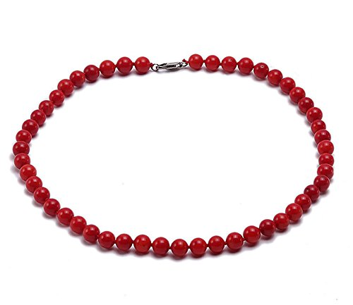 JYX Coral Necklace 10mm Red Round Coral Necklace 19