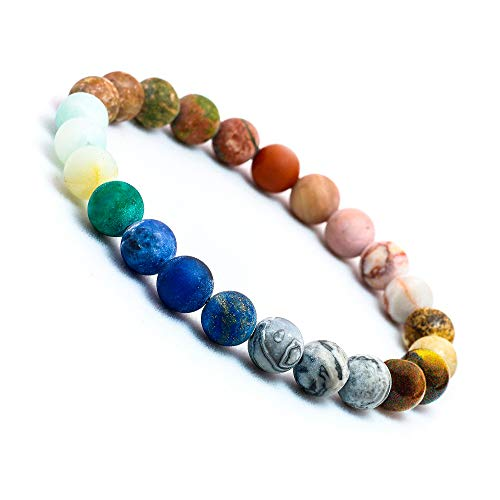 ZHEPIN Chakra Bracelet, Solar System Galaxy Planet Anxiety Relief Gemstones Distance Friendship Handmade Bead Bracelets Gifts for Women Men Couples