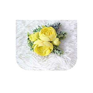 loveinfinite DIY Bride Boutonnieres Corsages Hand Flores Silk Wrist Flower Yellow Wedding Bouquet for Bridesmaid Decor Pin Rose Wrist Flowers,12 104