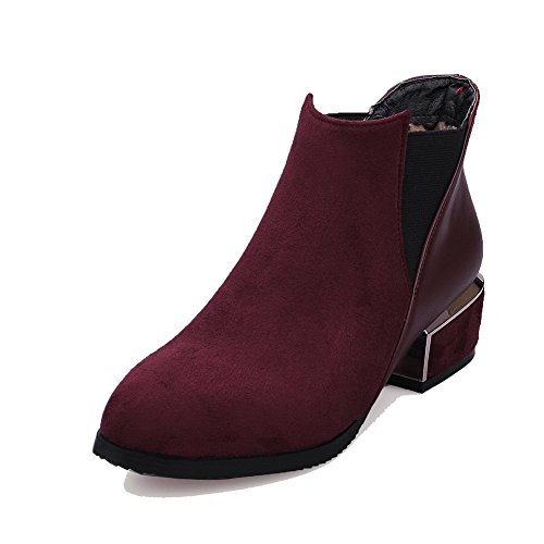 Allhqfashion Women's Pull-On Low-Heels Blend Materials Solid Low-Top Boots Claret