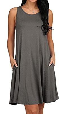 Women's Summer Sleeveless Pocket Loose T-Shirt Dress S-XL