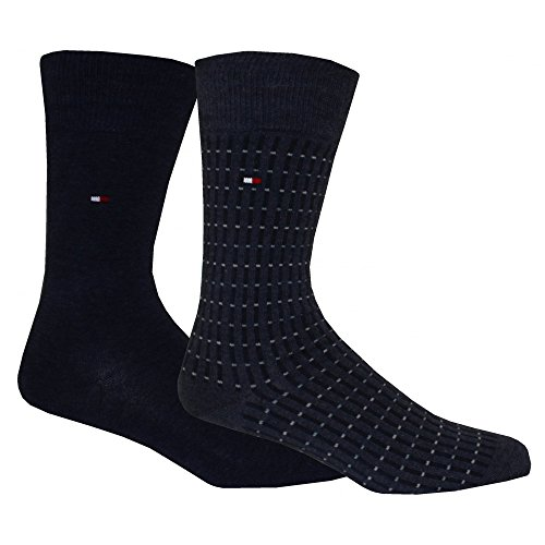 Tommy Hilfiger Men's 2-Pack Two-tone Dots & Stripes Socks, Jeans Blue Small/medium Jeans Blue