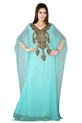 Kolkozy Fashion Women's Designer Muslim Kaftan Abaya Maxi Long Dress Turquoise Size 2X by Kolkozy Fashion