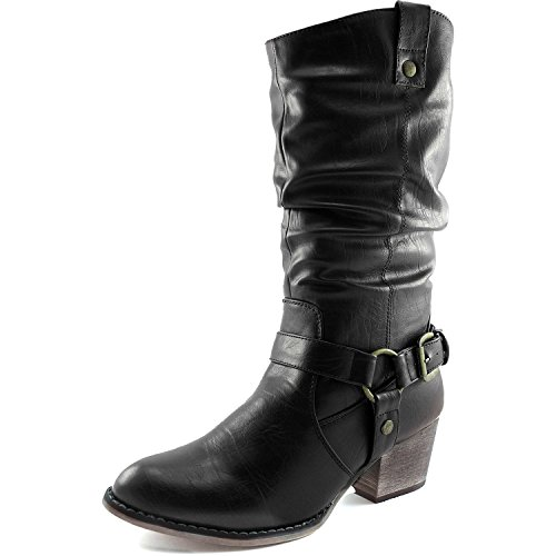 Cowboy PU DailyShoes Boots Style Ankle Slouch Women's Black Calf Strap Buckle Mid Western 01 Z6pvgZq