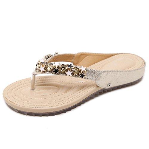 Sandali Moda 1 RAZAMAZA Gold Piatti Donna Infradito qfx46