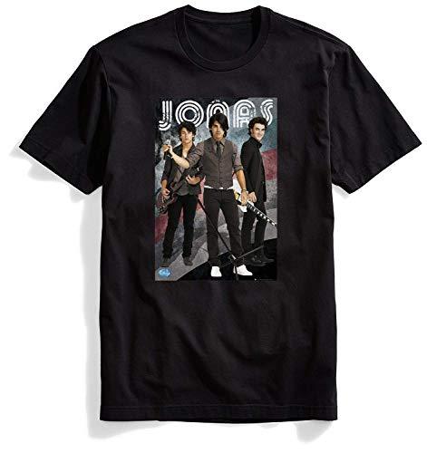 (Men's Classic New Jonas Brothers T Shirt for Men Tshirts O-Neck Black T-Shirt Mens Tee Vintage Art 2019)