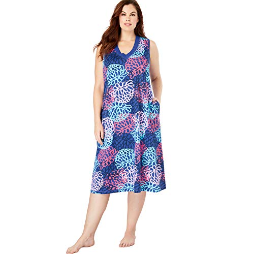 Dreams & Co. Women's Plus Size Short Knit Lounger - True Blue Strawberry, M