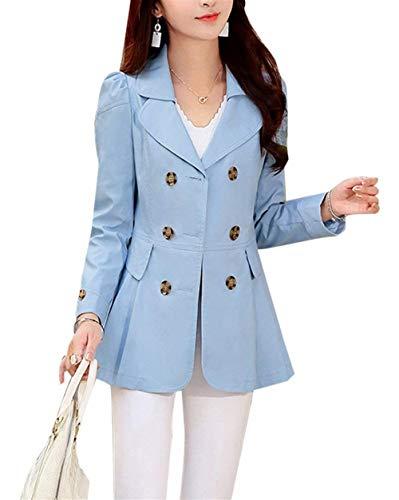 Puro Outerwear Invernali Skyblau Abbigliamento Donna Outwear Colore Manica Stile Double Bavero Slim Tasche Giacca Anteriori Cappotto Modern Lunga Breasted Fit gBzxxqnS5