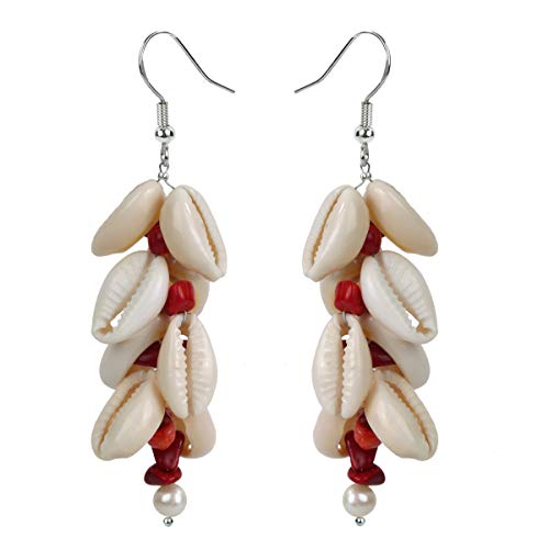 YACQ Cowrie Shell Freshwater Pearl Red Coral Gemstone 925 Sterling Silver Dangle Drop Long Earrings Handmade Jewelry for Women