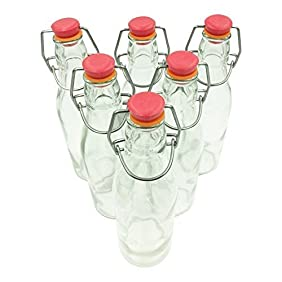 Set of 6 Mini Glass Bottles - 8 oz - With Attached 'Swing-Top' Stopper
