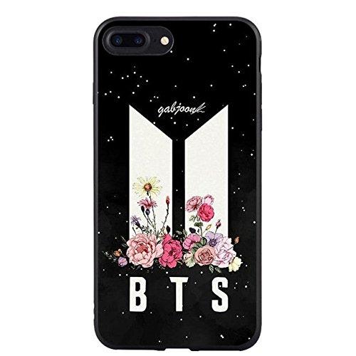 Black Bangtan Boys iPhone 7 Plus Case BTS 8 Plus Cover Kpop Boy Group South Korean Guy Band Bulletproof Boyscouts V Jeon Jung-Kook Jimin Suga Jin RM J-Hope Autographs White Army Shield, TPU