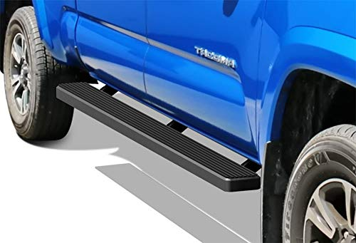 APS iBoard Running Boards 5 inches Matte Black Custom Fit 2005-2019 Toyota Tacoma Double Crew Cab Pickup 4-Door (Nerf Bars Side Steps Side Bars)
