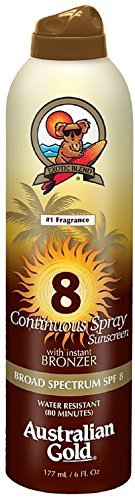 - Australian Gold Continuous Spray Sunscreen with Instant Bronzer SPF 8 6 oz (Pack of 5)