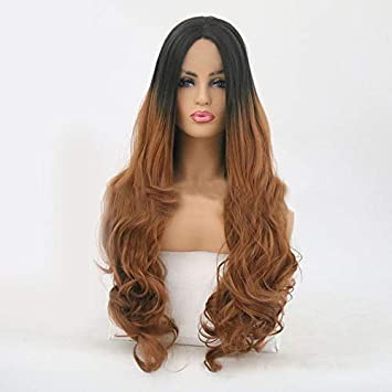 Amazon.com   Women s Front Lace Full Wigs Lady Long Wavy Curly Party ... 9d7226629