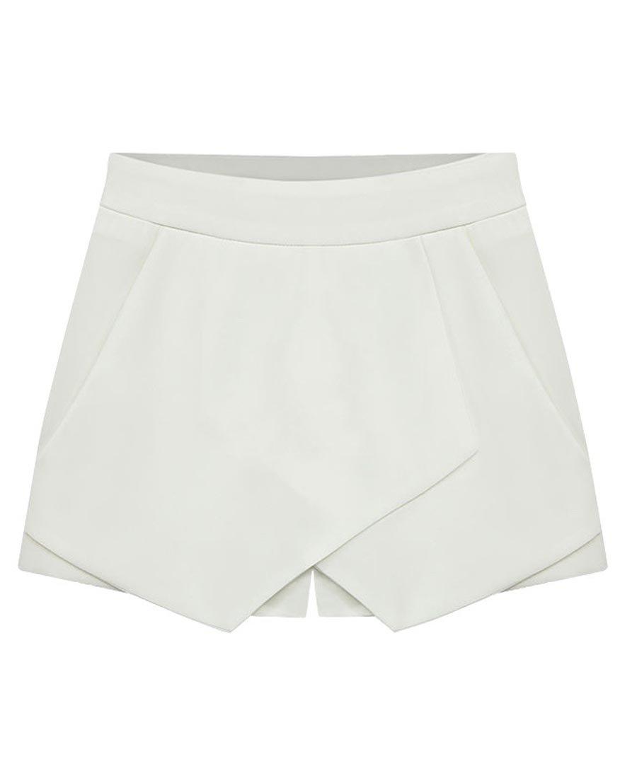 Rofala Women's Asymmetrical Hem Shorts Skort Bodycon Mini Skirt With Pockets US 0-2 White