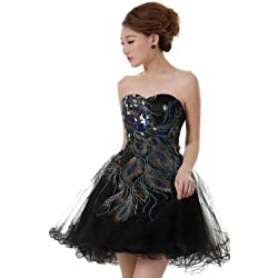 DLFASHION Women's Strapless A-line Tulle Peacock Homecoming Dress Size 14 Black