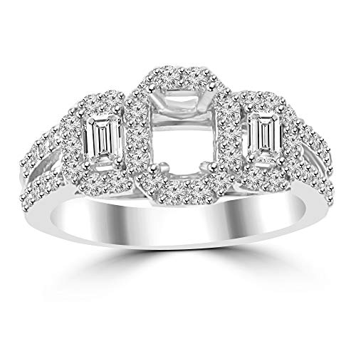 1.01 ct Ladies Round and Baguette Cut Diamond Semi Mounting Engagement Ring G Color SI-1 Clarity in 14 kt White Gold In Size 15