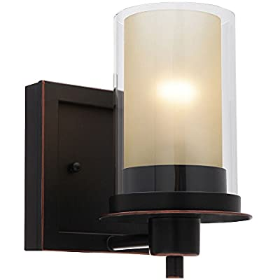 "Designers Impressions Juno Oil Rubbed Bronze 1 Light Wall Sconce/Bathroom Fixture with Amber and Clear Glass: 73467 - Finish: Oil Rubbed Bronze --- Glass: Amber and Clear Height: 8-1/4"" ---- Width: 5-1/2"" Bulb Requirements (Not Included): (1) One Medium Base 60 Watt - bathroom-lights, bathroom-fixtures-hardware, bathroom - 41cZjwAzXoL. SS400  -"
