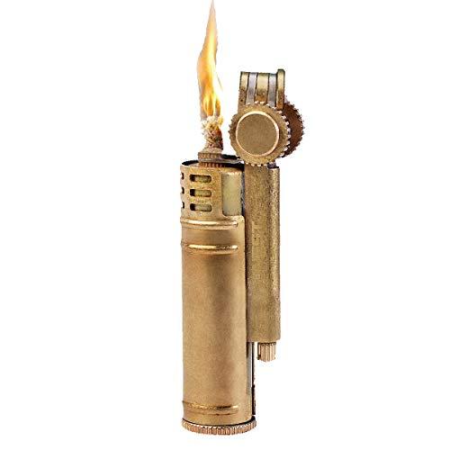 Trench Copper Lighter Kerosene Lighter Vintage Flint Wheel Lighter Antique Brass Lighter with Windproof Movable Wind Shield and Extra Flints